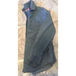 🍀 Girls So Denim Button Down Collar Shirt SZ 12